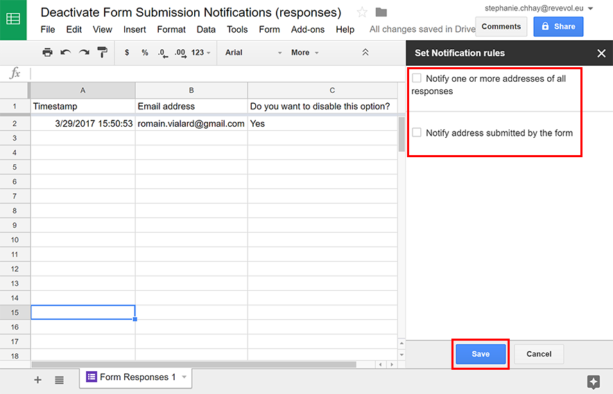 Configure Google Form submission notifications