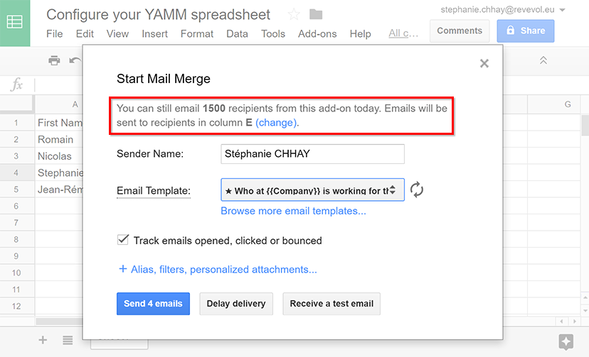 Configure your Google Spreadsheet and list all your
