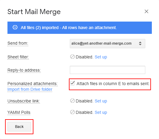 Send a mail merge with personalized attachments to each recipient –  Documentation - Yet Another Mail Merge Support