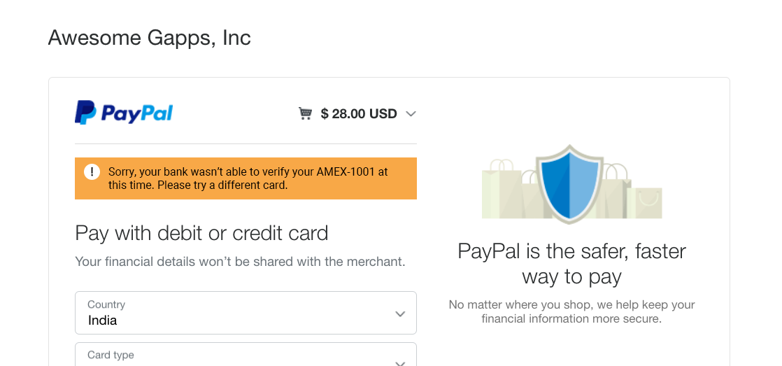 PayPal error: your bank can't verify your credit card