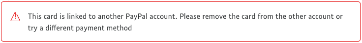 PayPal error: credit card linked to another account