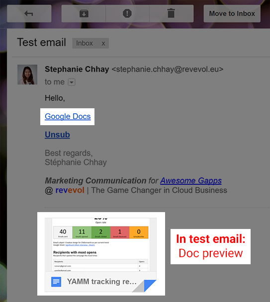 Test email with files preview