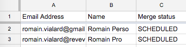 Schedule mail merge in spreadsheet