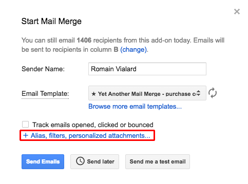 Send a mail merge with personalized attachments to each