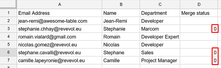 Segment your list and only send emails to specific people / rows